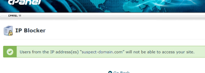 CPanel suspect domain name blocked