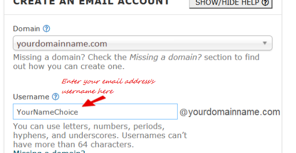 CPanel create an email account