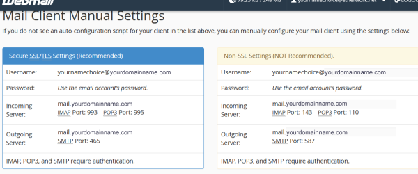 cPanel - mail client manual settings