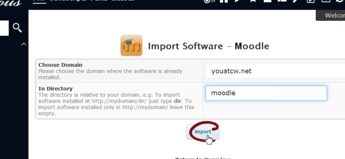 Import via Softaculous in CPanel