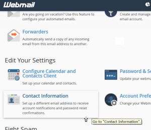Webmail's Main Page | Contact Information Link