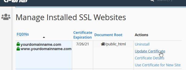 cPanel SSL/TLS Manage Installed SSL Websites