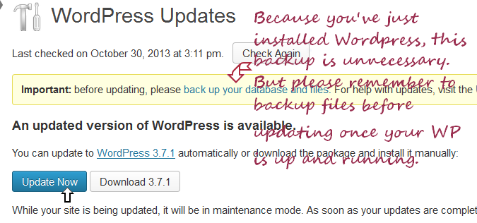 updating WP from within WordPress