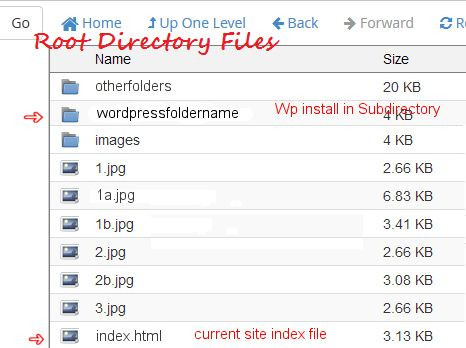 Your WordPress site installed in a Subdirectory